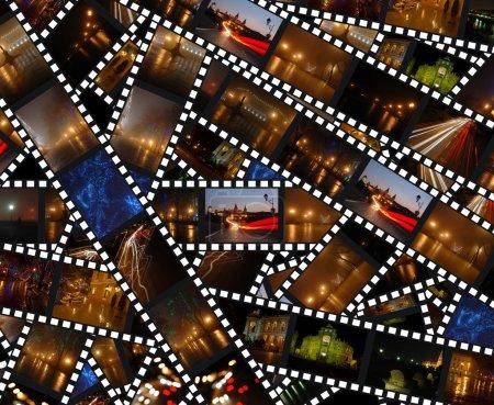 ФильмПолосы с пейзажами ночного города.