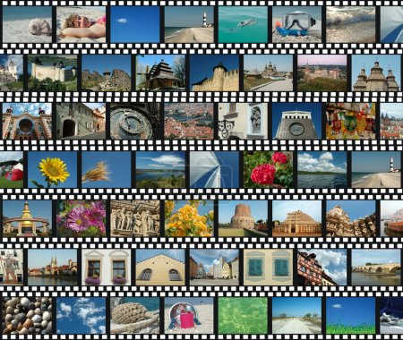 Photo for Background with travel filmstrips - Royalty Free Image