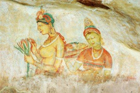 Wall painting in Sigiriya Ceylon