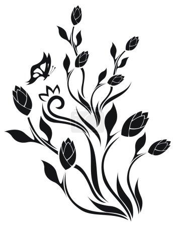 Illustration pour Motif floral de tulipe avec papillon - image libre de droit