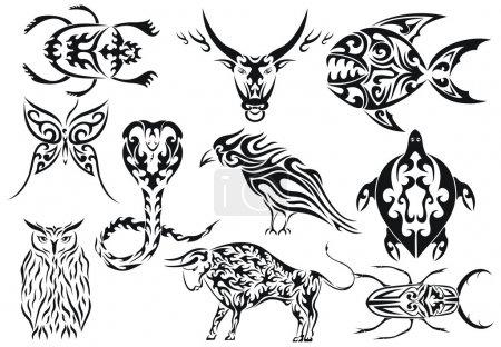 Set of vector tribal animal tattoos