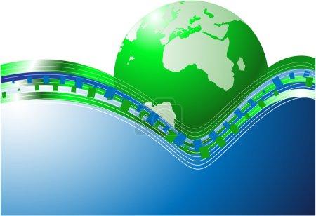 Ilustración de Fondo de tecnología con planeta - Imagen libre de derechos