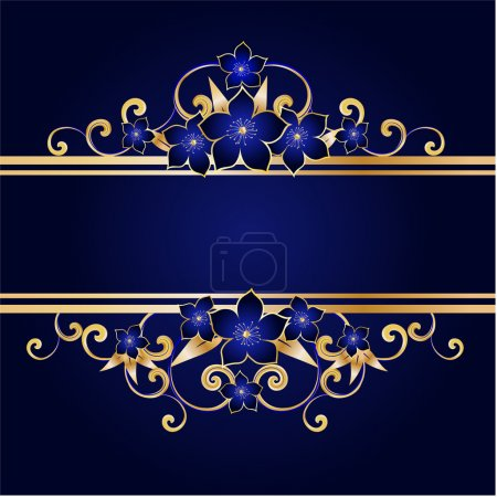 Illustration for Golden floral frame, vector illustration - Royalty Free Image