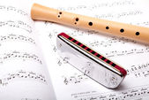 Mouth harmonica and wooden flute