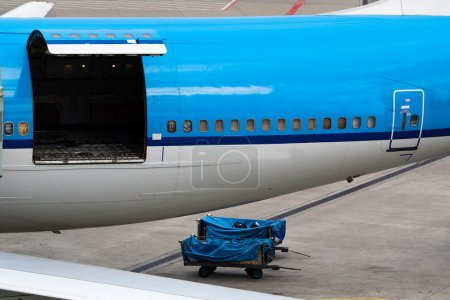 Airplane with open hatch