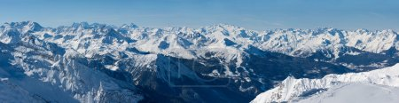 Wide panorama of French Alps