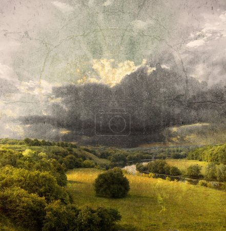 Photo for Landscape - meadow; vintage photo - Royalty Free Image