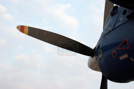 Closeup of propeller airplane engine