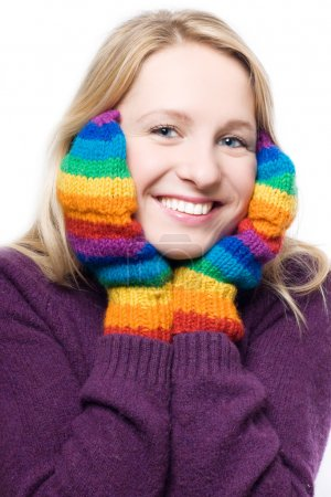 Young beauty laugh woman in colorful glo