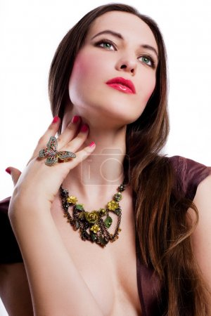 Photo for Portrait of beauty young woman with jewelery (isolated) - Royalty Free Image