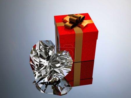 Photo pour Coffrets cadeaux et coeur brillant - image libre de droit