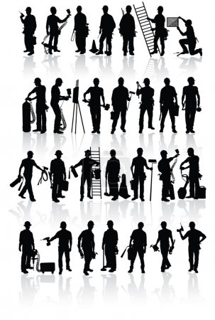 Photo for Isolated construction workers silhouettes with different tools - Royalty Free Image