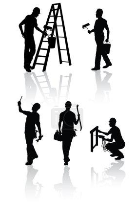 Illustration pour Silhouettes isolées de travailleurs de la construction avec différents outils - image libre de droit