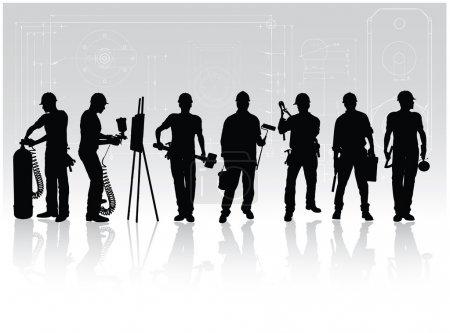 Illustration pour Silhouettes de travailleurs de la construction avec différents outils sur fond technique - image libre de droit
