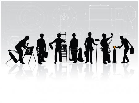 Photo for Construction workers silhouettes with different tools on technical background - Royalty Free Image