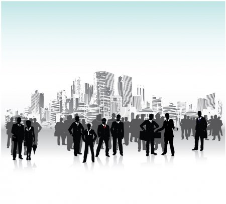 Illustration for Business urban crowd, conceptual vector - Royalty Free Image