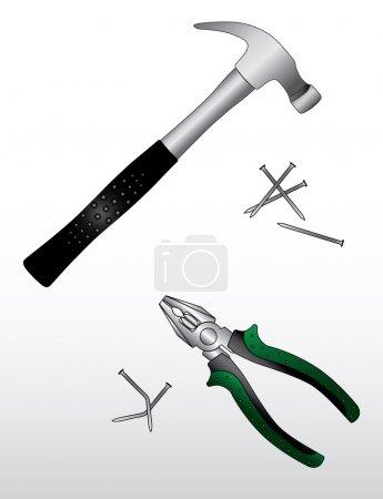 Illustration pour Ensemble d'outils de travail de construction - image libre de droit