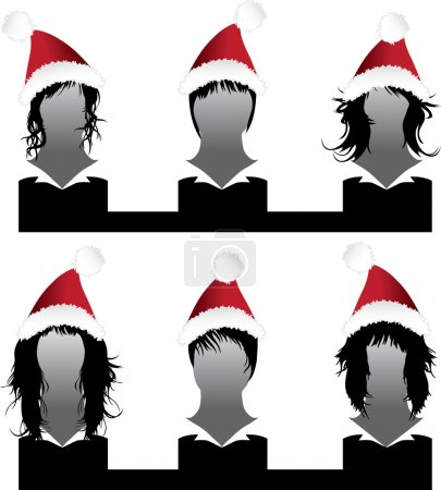 Illustration for Vector set of hair style Xmas samples for woman - Royalty Free Image