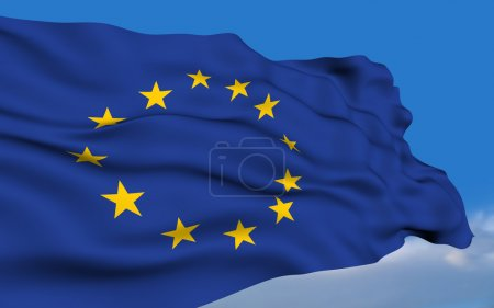 Photo for European Union Flag waving on wind. Please see all series in my portfolio. - Royalty Free Image