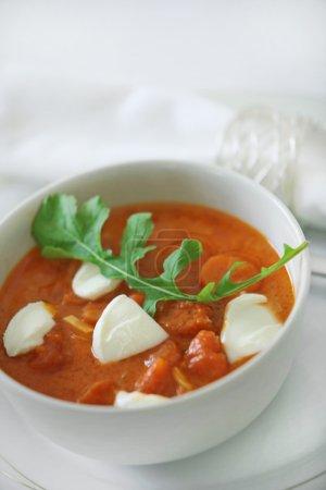 Tomato soup with mozzarella