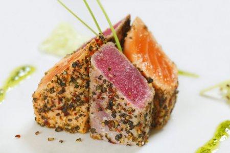 Grilled tuna fish and salmon