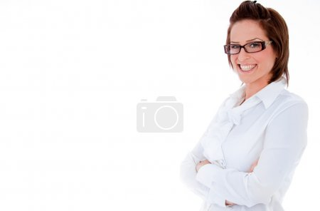 Photo for Portrait of young business woman on isolated background - Royalty Free Image