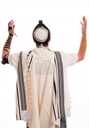 Rear view of jewish men