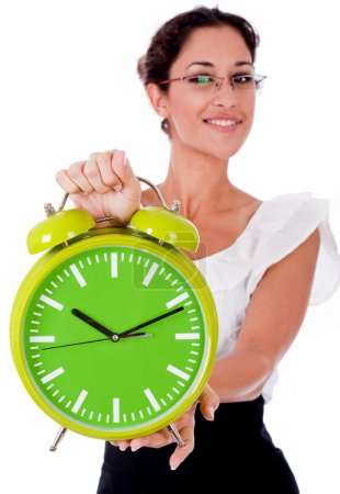 Business woman with green clock