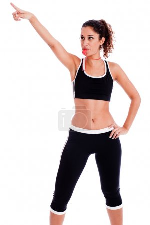 Fitness woman pointing up