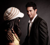 Attractive man looking at trendy women