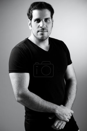 Photo for Fitness man after finishing his exercise indoor studio - Royalty Free Image