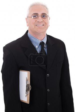 Mature business man holding a clipboard