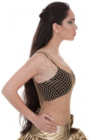 Side pose of a belly dancer