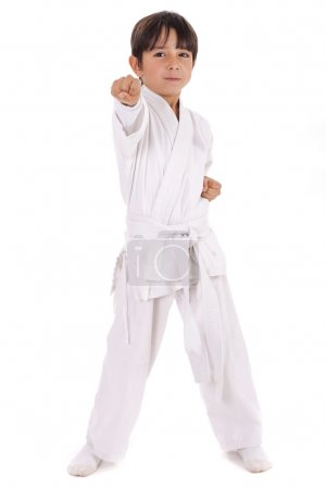 Small karate boy in training