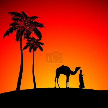 Desert with a men and lonely camel