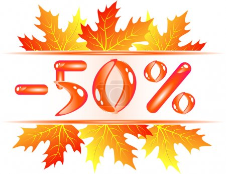 Illustration pour Vente d'automne. 50 pour cent de réduction - image libre de droit