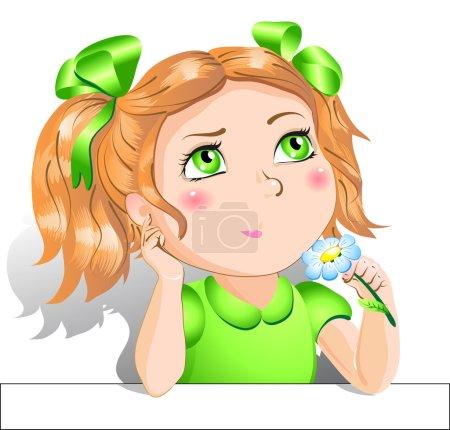 Illustration pour Petite fille avec une fleur - image libre de droit