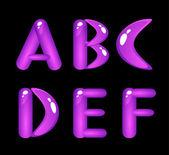 Violet shiny alphabet