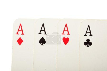 Photo pour Bouchent avec quatre cartes anciennes (aces) - image libre de droit
