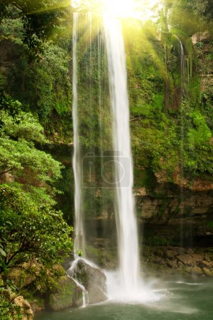 Waterfall in jungles with sun