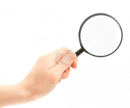 Woman hand holding magnifying glass isol