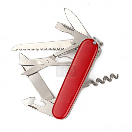 Photo for Swiss army multipurpose knife isolated on white - Royalty Free Image