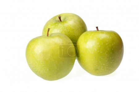 Three green apples isolated on white
