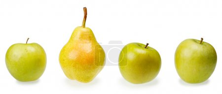 Three green apples and pear isolated