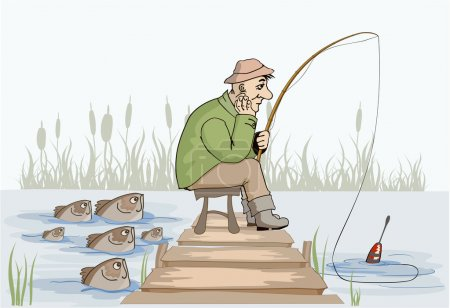 Illustration for Unhappy fisherman at the fishing. Comic illustration - Royalty Free Image