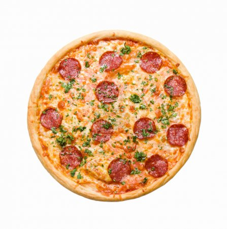 Photo pour Savoureuse pizza italienne, isolée sur fond blanc . - image libre de droit