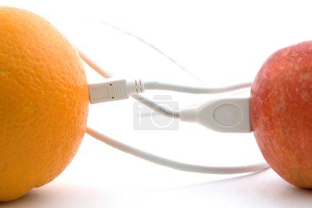 Photo pour L'orange et la pomme sont reliées par un câble 1 - image libre de droit
