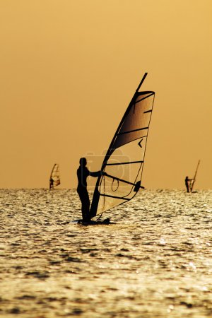 Silhouettes of a windsurfers on waves of