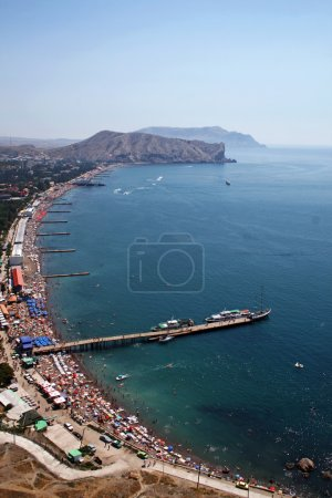 View from height on Quay of the resort city. Sudak. Ukraine.