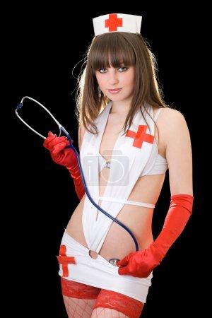 Sexy playful nurse with a stethoscope. I